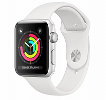 Apple Смарт-часы Apple Watch Series 3 GPS, 38mm Silver Aluminium Case with White Sport Band
