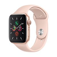 Купить APPLE APPLE Смарт-часы Apple Watch S5 44mm Gold Aluminium Case with Pink Sand Sport Band в каталоге интернет магазина на Avshop.RU, отзывы, фотографии